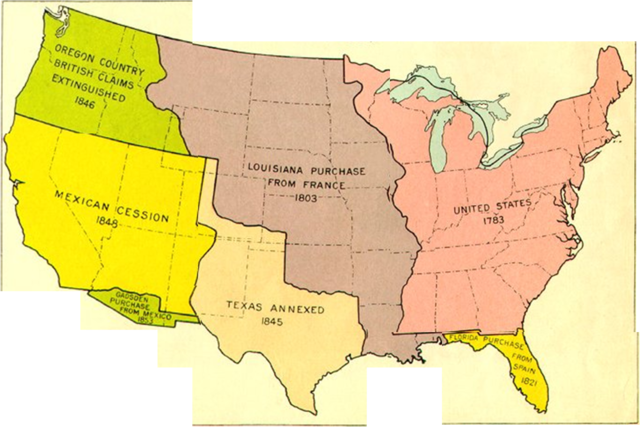Manifest destiny westward expansion map